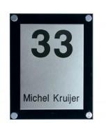 rvs naamplaat met zwart massief perspex 15x20cm