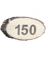 Houten boomschijf naambord met schors 25x10cm
