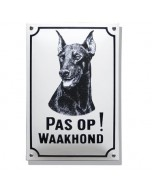 Emaille waakhond bord Doberman WH-04