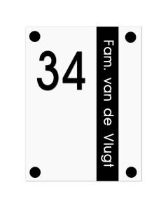 mat zwart-wit modern perspex naambord 15x20cm