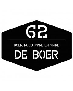 mat zwart kunststof naambord uitgesneden tekst en nummer 25x18cm