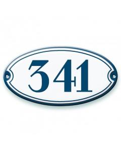 emaille-look huisnummer ovaal + kader 19,5x10,5cm