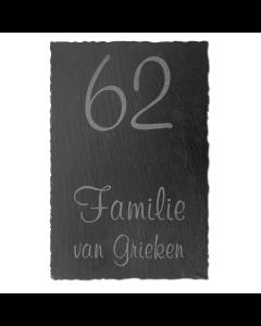 Leisteen naambord met huisnummer 20x30cm
