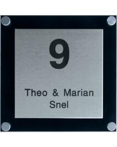 rvs naamplaat met zwart massief perspex 15x15cm
