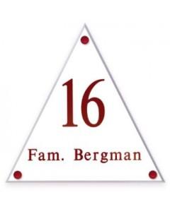 transparant perspex naambord driehoek 21,5x25cm