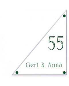transparant perspex naambord driehoek 25x30cm