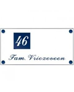 perspex transparant naambord voorzien van gravure + vinyl 24x12cm