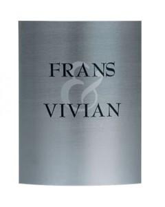 rvs gebogen naambord met vinyl belettering + zilverkleurig & teken 15x20cm