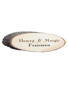 Houten boomschijf naambord met schors 18x9cm