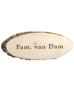 Houten boomschijf naambord met schors 45x20cm