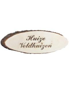 Houten boomschijf naambord met schors 60x22cm