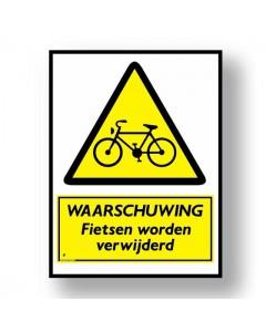 waarschuwingsbord fietsen worden verwijderd DWA30