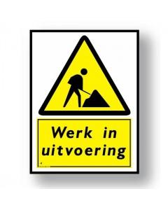 2633 waarschuwingsbord werk in uitvoering DWA33