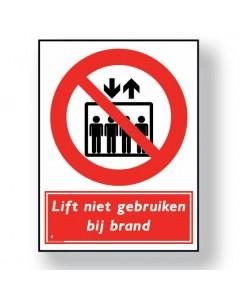verbodsbord lift niet gebruiken bij brand DRO05