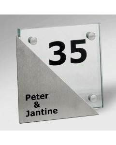 glazen naambord 15mm glas + rvs 15x15cm E21