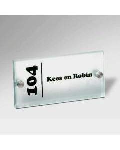 glazen naambord 15mm mat glas 20x10cm E61