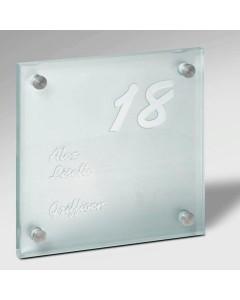 glazen naambord 15mm mat glas 20x20cm E11