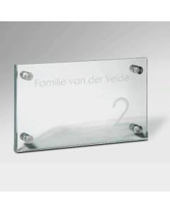 glazen naambord 12mm glas 25x15cm E51