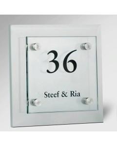 glazen naambord 8mm glas voor 15x15cm + achter 20x20cm E32