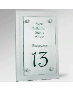 glazen naambord 8mm glas voor 15x25cm + achter 20x30cm E33