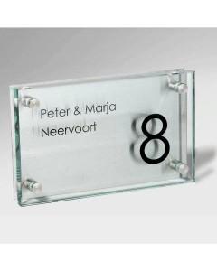 glazen naambord 12mm glas + rvs 25x15cm E41