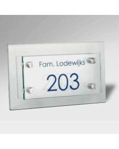 glazen naambord 8mm glas voor 10x20cm + achter 15x25cm E31