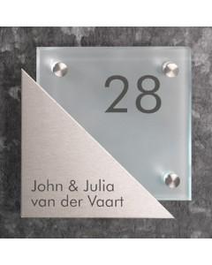 glazen naambord 8mm mat glas + rvs voorplaat 16x16cm R3
