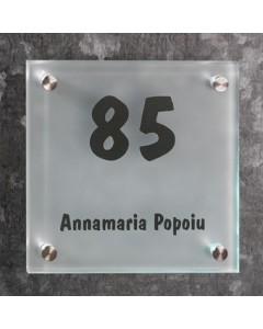 glazen naambord 8mm mat glas 20x20cm R5
