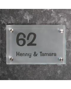 glazen naambord 8mm mat glas 25x15cm R6