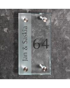 glazen naambord 8mm mat en helder glas 10x20cm R8