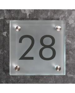 glazen huisnummer bord 8mm mat glas 15x15cm R9