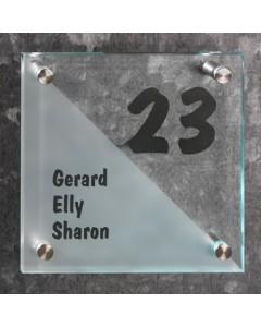 glazen naambord 8mm mat en helder glas 20x20cm R10
