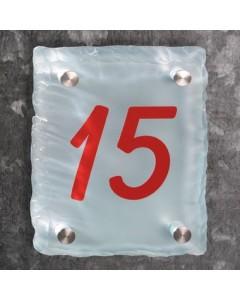 glazen huisnummer 15mm mat gebrokkeld glas 20x15cm BM1