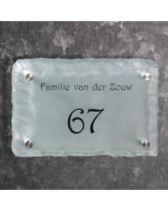 glazen naambord 15mm mat gebrokkeld glas 30x20cm BM4