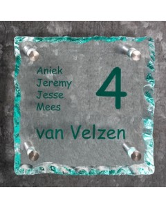 glazen naambord 15mm helder gebrokkeld glas 20x20cm BG4