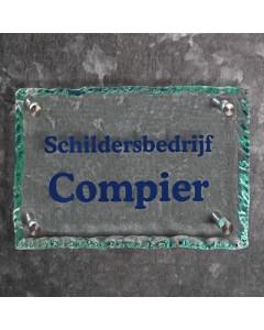 glazen naambord 15mm helder gebrokkeld glas 30x20cm BG5