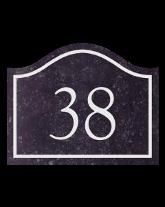 belgisch hardsteen huisnummerplaat golvend 24x19cm