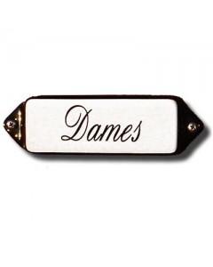 emaille naamplaatje oor schuinschrift dames 8x3cm