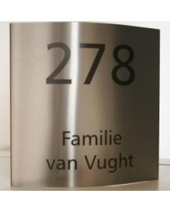 6862 rvs naambord gebogen 20x20cm N074