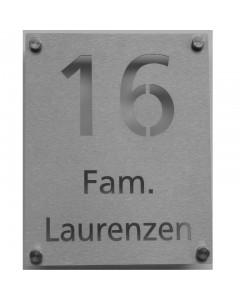 rvs huisnummer + naam laser gesneden 20x25cm N087