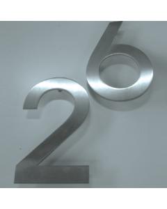 rvs huisnummer groot 2mm + afstandhouders