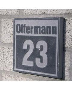 natuursteen huisnummer + achternaam style1 18x18cm