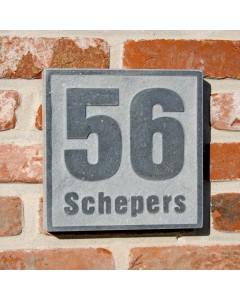 natuursteen huisnummer + achternaam style5 18x18cm