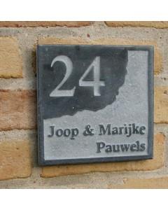 natuursteen huisnummer + namen style7 18x18cm