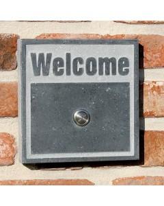 natuursteen beldrukker welcome2 15x15cm